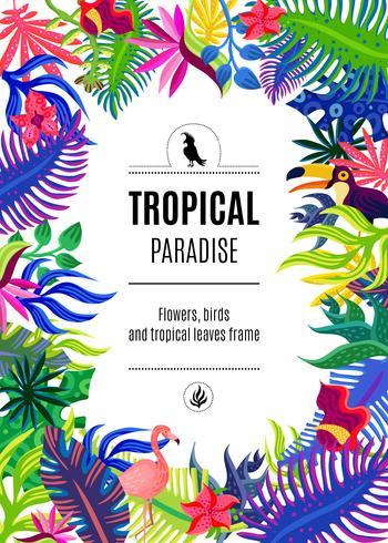 Tropisk paradis ram bakgrundsaffisch vektor