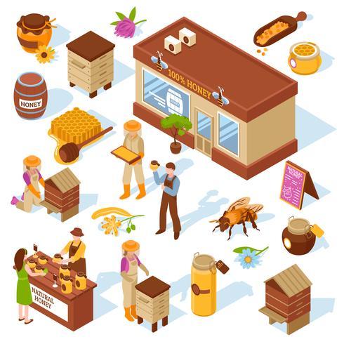 honung gård isometriska ikoner uppsättning vektor