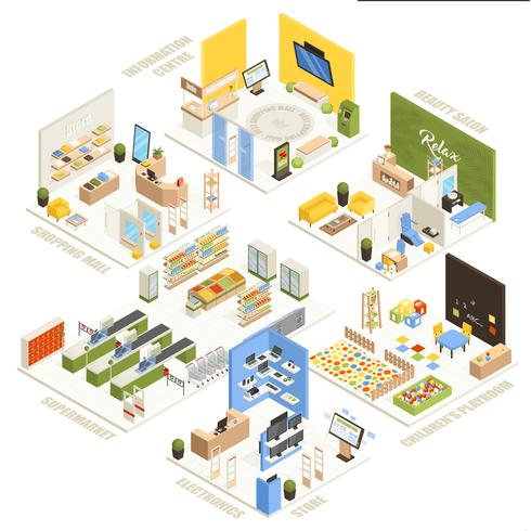 Shopping Mall Isometric Composition Poster vektor