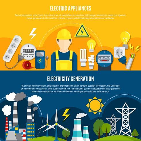 Elektriska apparater och elproduktionsbannor vektor