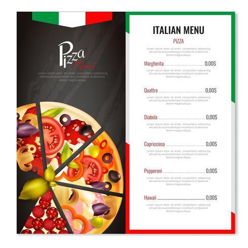 Italiensk Pizza Meny Design vektor