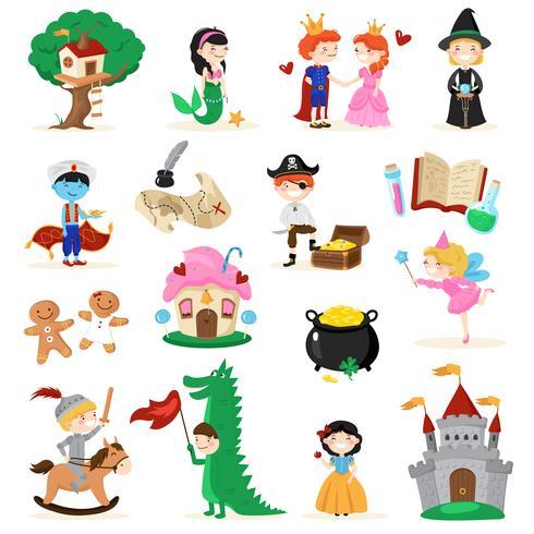 Märchenfiguren Cartoon Set vektor