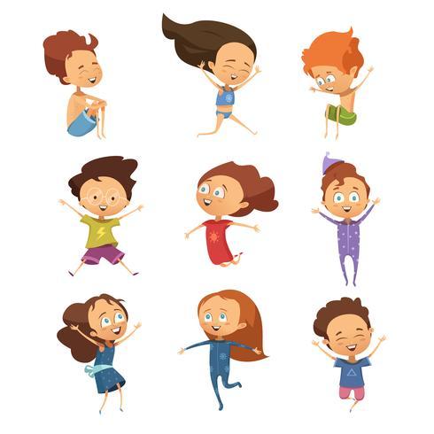 Set av söta tecknade hoppande barn vektor