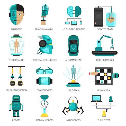 Artificiell intelligens ikonuppsättning vektor
