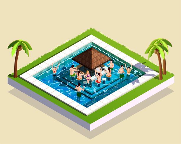 Freunde in der isometrischen Illustration des Wasserparks vektor