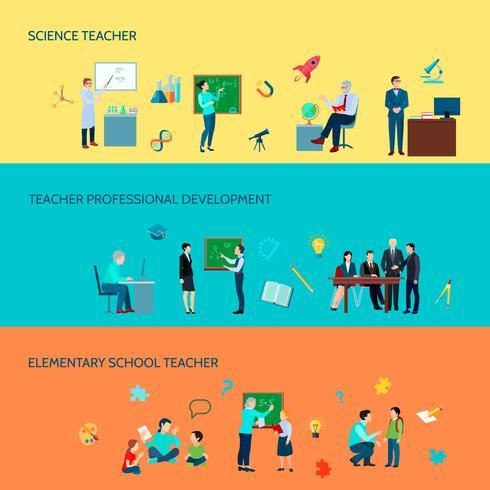 Skolelärare Flat Banners Set vektor