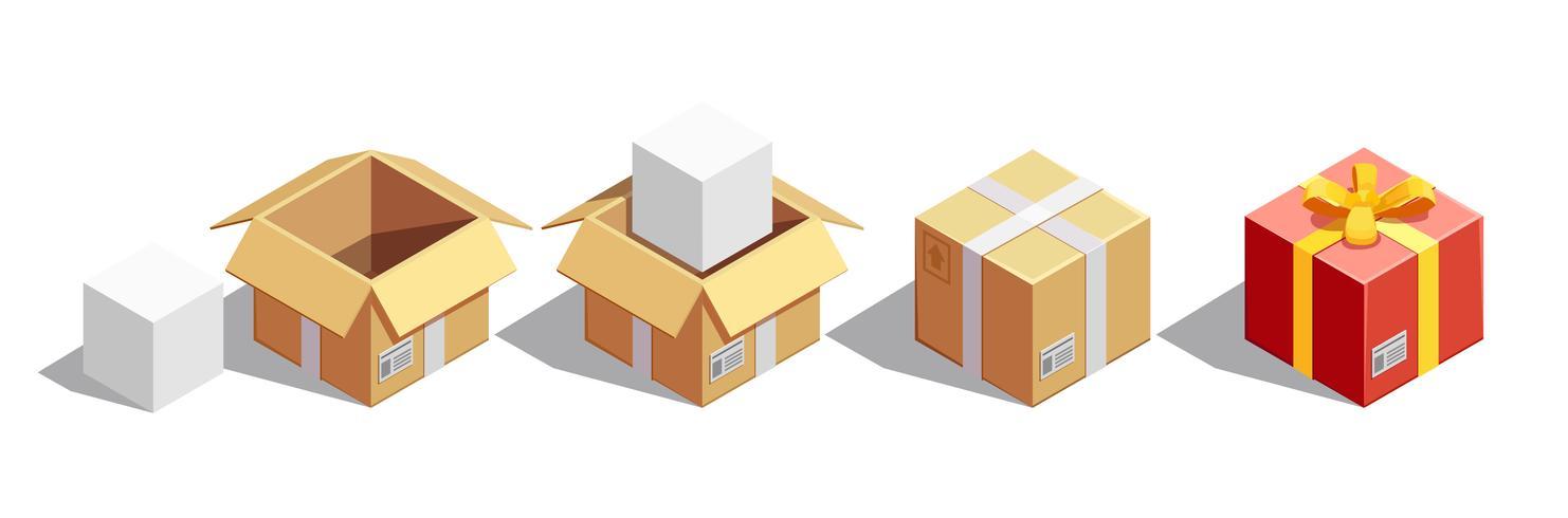 Paketverpackungs-Isometriesatz vektor