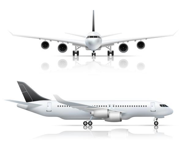 Verkehrsflugzeug Front Side Realistische Ansicht vektor
