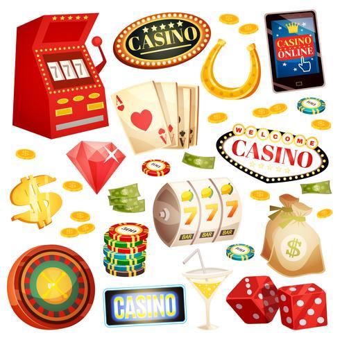 Casino Dekorativa ikoner Set vektor