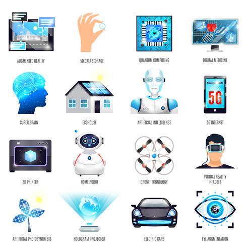 Technologien der zukünftigen Ikonen eingestellt vektor