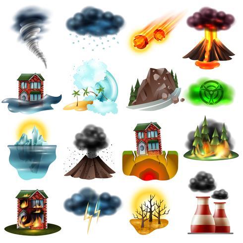 Naturkatastrofer Set vektor