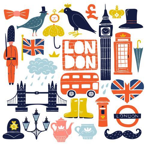 Londoner Sehenswürdigkeiten gesetzt vektor