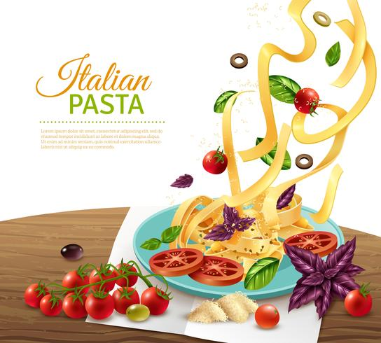 Pasta konceptaffisch vektor