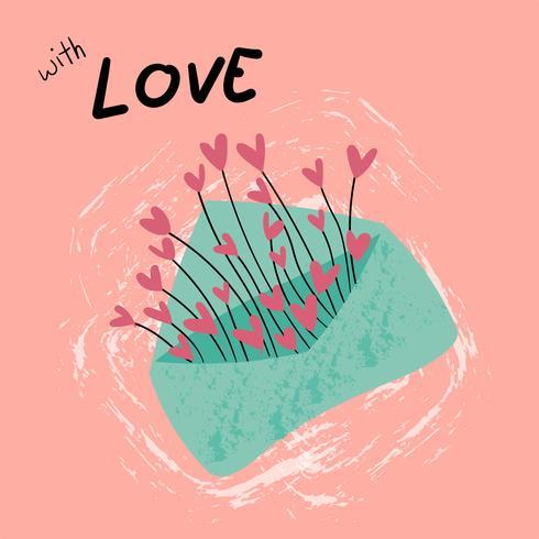 vintage pastellblått kuvert kärlek med hjärtan gräs vektor