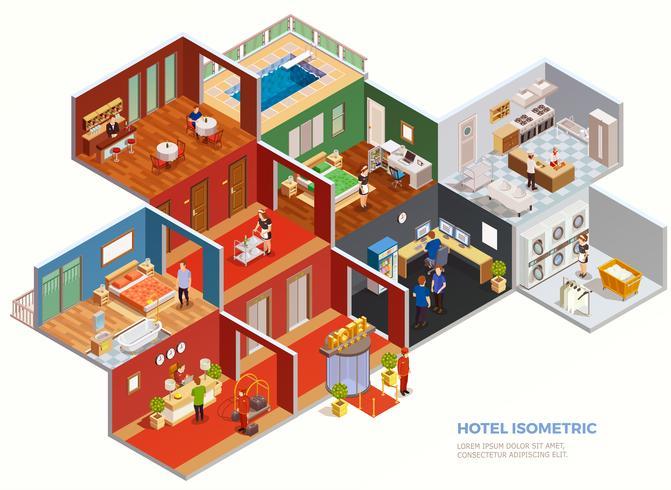 Hotel isometrische Zusammensetzung vektor