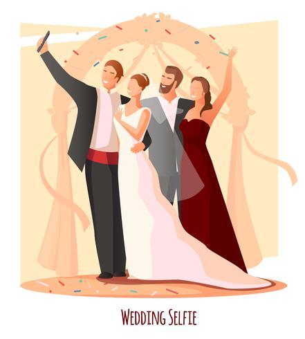 Bröllop Festlig Selfie Sammansättning vektor
