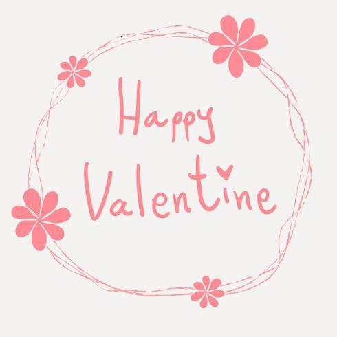 rosa glada valentin ord hand som skriver i prydnad blomma ram vektor