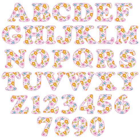 rosa blommönster alfabet vektor