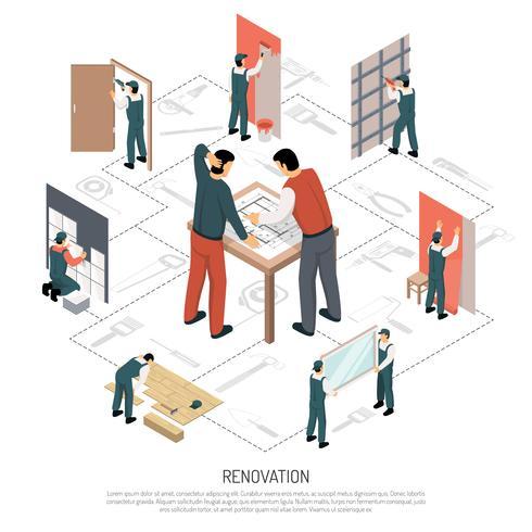 isometrisk renovering infographics vektor