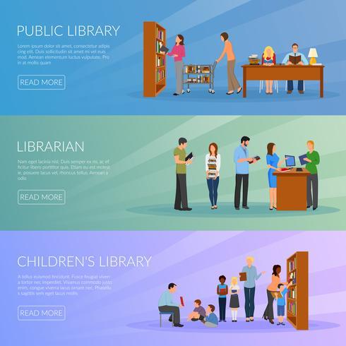 bibliotek banners uppsättning vektor