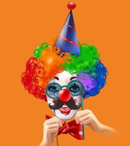 Zirkus-Clown Head Colorful Hintergrund Poster vektor