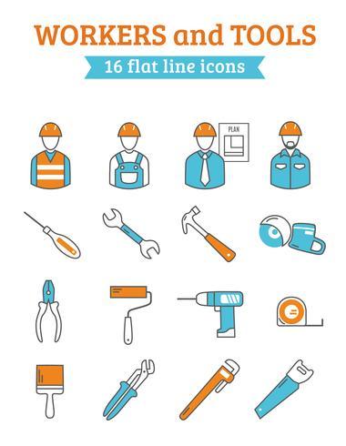 Ikoner för arbetare och verktyg vektor