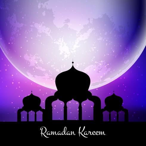 Ramadan Kareem bakgrund med moské mot måne vektor