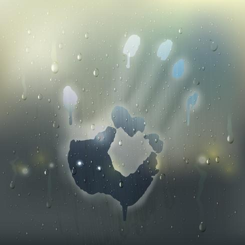 Hand på Misted Glass Realistic Composition vektor
