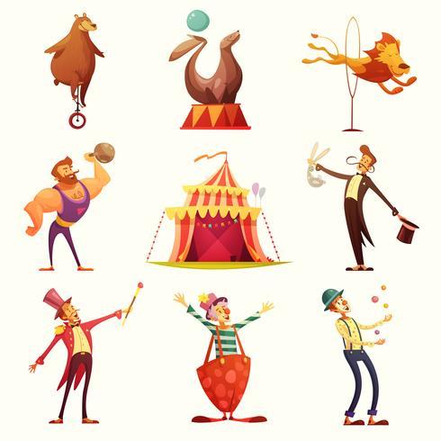 Cirkus Retro Ikoner Cartoon Set vektor
