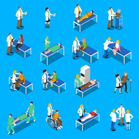 Doktors patientkommunikationsisometriska ikoner vektor