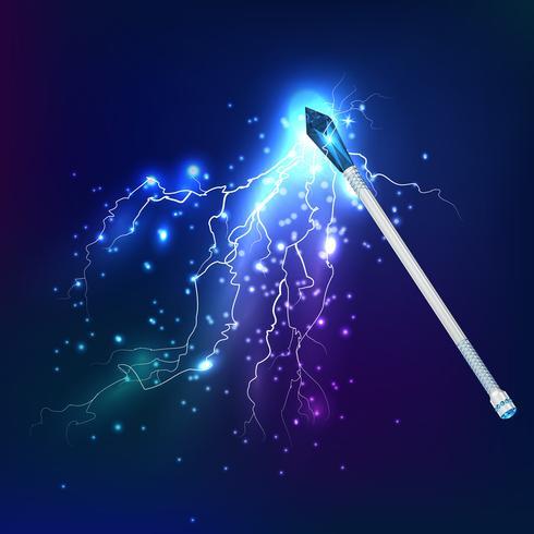 trollstav med elektrisk urladdningseffekt vektor