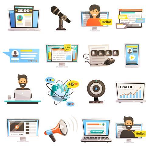 bloggosfärkommunikation ikonuppsättning vektor