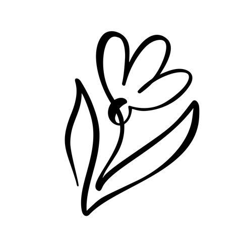 Ununterbrochene Linie Handzeichnung kalligraphisches Vektorblumenkonzeptlogo organisch. Skandinavisches Frühlingsblumenmusterelement im minimalen Stil. Schwarz und weiß vektor