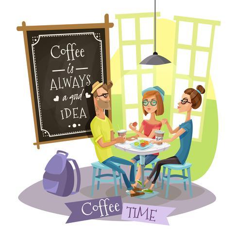Kaffee-Zeit-Konzept des Entwurfes mit Hippies vektor