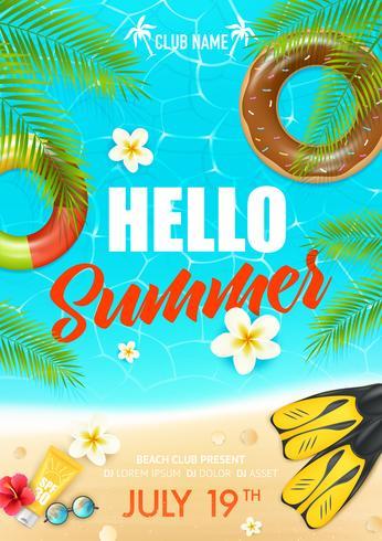 sommar strand semester klubbaffisch vektor