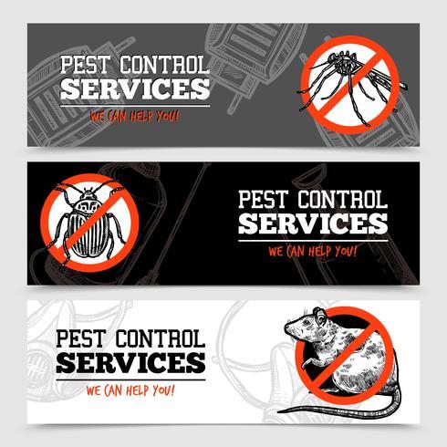 skissa skadedjurskontroll insekter banderoller vektor