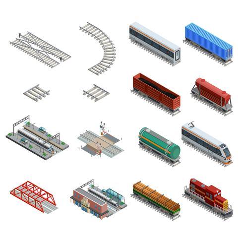 Tågstationen Elements Ikoner Set vektor