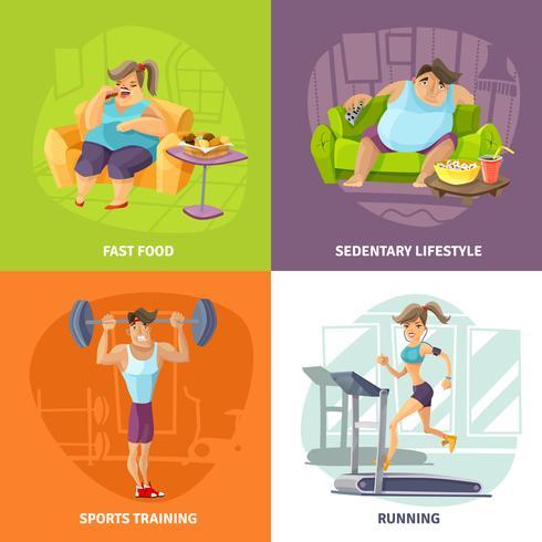 Fettleibigkeit und Gesundheits-Konzept-Ikonen eingestellt vektor