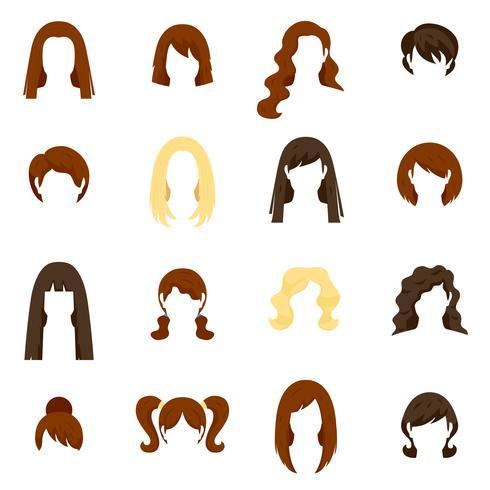 Kvinna hår ikoner Set vektor