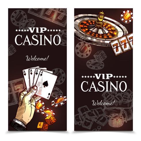 skissa casino vertikala banners vektor