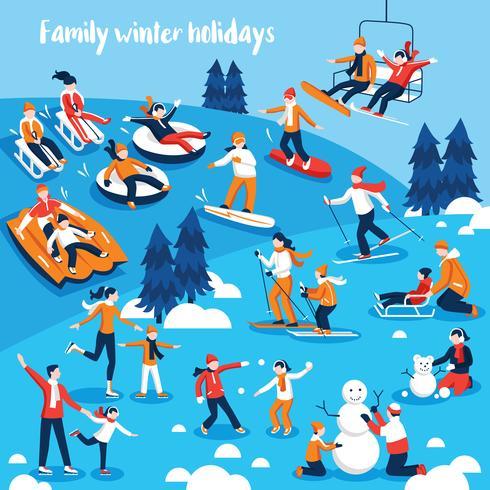 Folk Engagerade i vintersport vektor