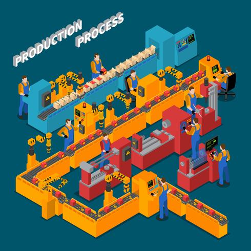 Isometrische Zusammensetzung der Fabrik vektor