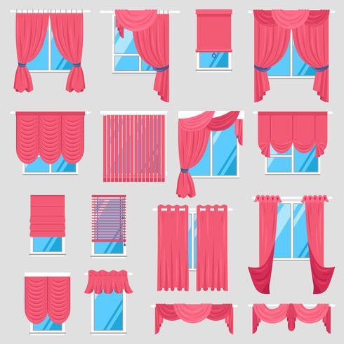 Rote Vorhänge Set vektor