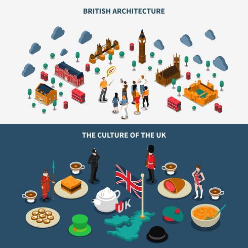 Storbritannien Banners Set vektor