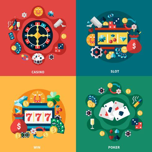 Casino Games Flat Ikoner Square Composition vektor