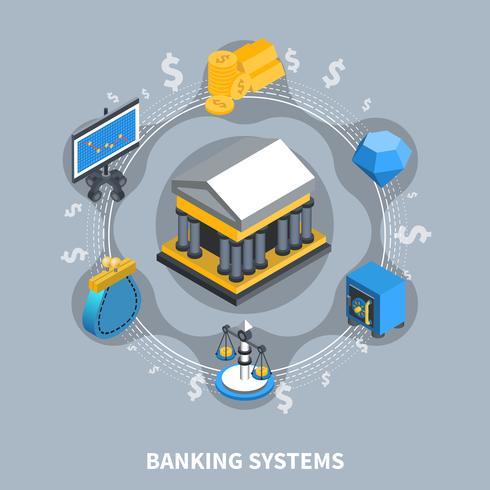 Isometrische runde Zusammensetzung der Bankensysteme vektor