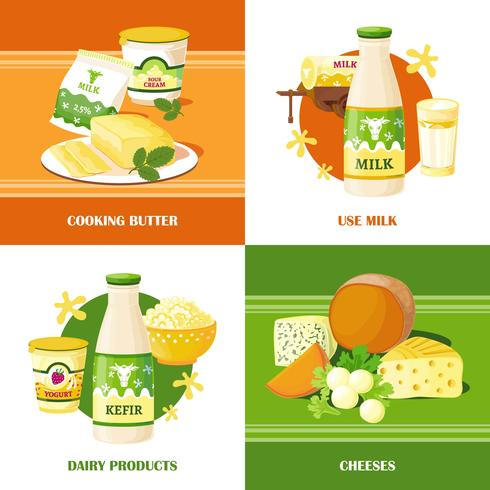 Konzept des Milch- und Käse-2x2 vektor