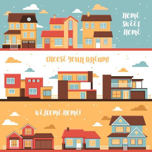 Häuschen und Dorf bringt horizontale Fahnen unter vektor
