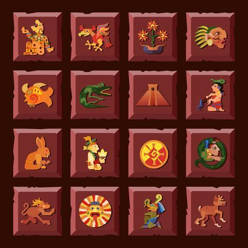 Maya ikoner Set vektor