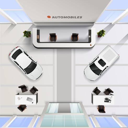 Top View Office Interior av bilsalong vektor